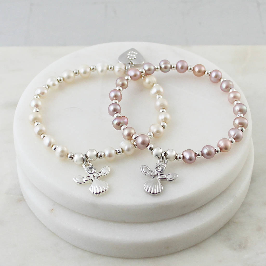 Personalised Pearl Guardian Angel Bracelet