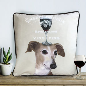Dog Au Vin Greyhound Cushion, Wine Gift - cushions