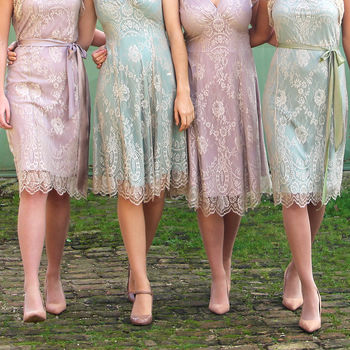 Bespoke Bridesmaid Dresses In Platinum And Powder Lace
