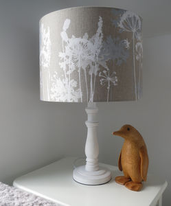 Floral Linen Lampshade White And Grey - black friday sale