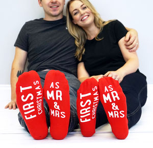 Mr And Mrs First Christmas Socks - festive socks