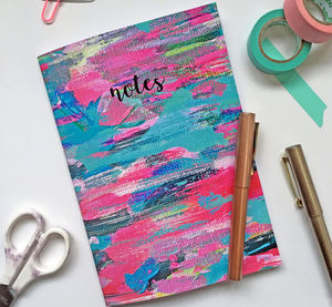 'Notes' Colourful Blank Notebook - writing