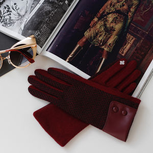 Wool Herringbone Touch Screen Gloves With Leather Cuff - womens