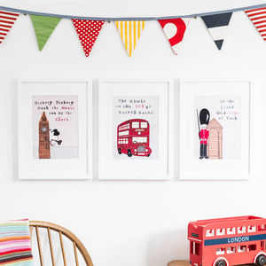 Set Of Three London Nursery Art Prints - baby's room