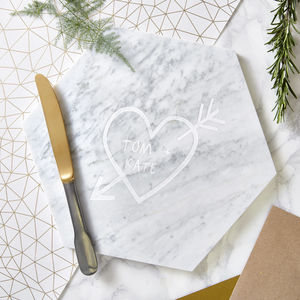 Couples Carved Heart Personalised Marble Serving Board - engagement gifts