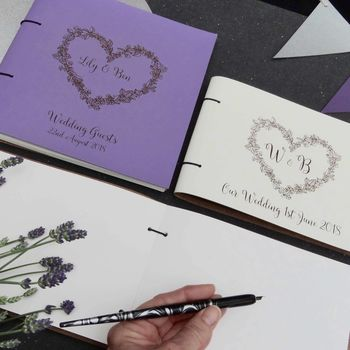 'Love Heart' Personalised Coloured Leather Guest Book