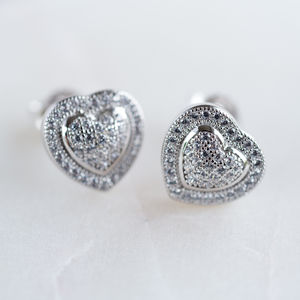 Cubic Zirconia Pave Stone Studs - earrings