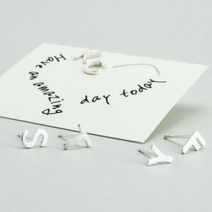 Alphabet Silver Initial Ear Studs - personalised jewellery