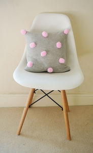 Knitted Pom Cushion - bedroom