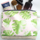 Standard Handmade Botanical Grid Monstera Cosmetic Bag