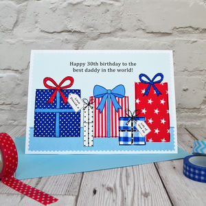 'Presents' Personalised Boys Birthday Card