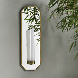 Mirrored Brass Candle Wall Sconce - mirrors