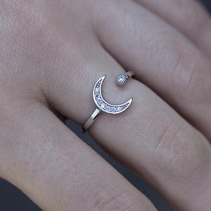 Sparkly Moon And Star Cubic Zirconia Silver Ring
