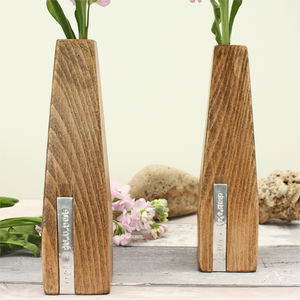 Two Personalised Wooden Vases