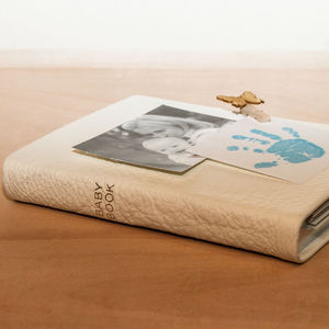 Personalised Ivory Leather Baby Book