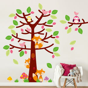 Foxes And Friends On Forest Tree Wall Sticker Set - wall stickers