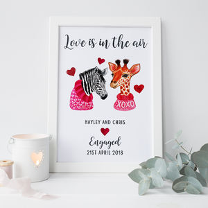Personalised Engagement Gift Print - typography