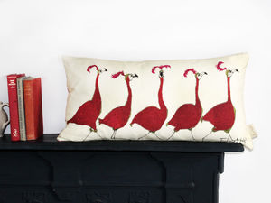 Friday Night Flamingo Cushion - bedroom