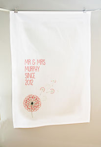 Personalised Dandelion Tea Towel Cotton