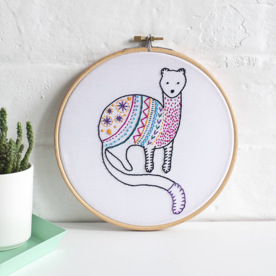 Stoat contemporary embroidery craft kit by hawthorn