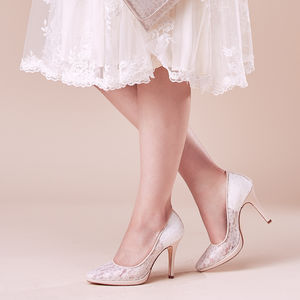 Wedding Court Shoe Francesca Sheer Ivory Lace Platform - shoes
