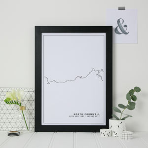 Personalised Coastline Line Art Print