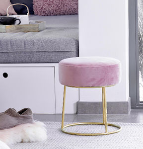Pink Velvet Stool With Gold Legs - stools