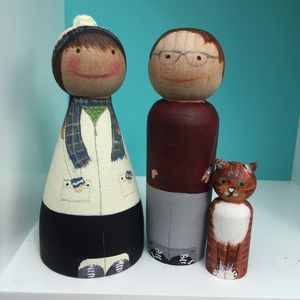 Bespoke Hand Painted Wooden Peggys - cake toppers & decorations