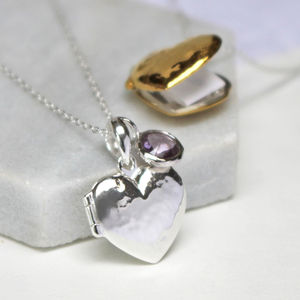 Hidden Message Heart Locket Necklace - 25th anniversary: silver