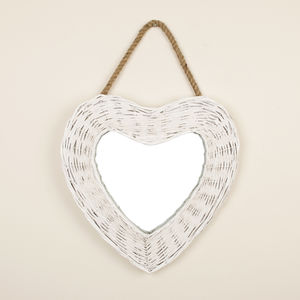 Farmhouse Heart White Wicker Mirror - mirrors
