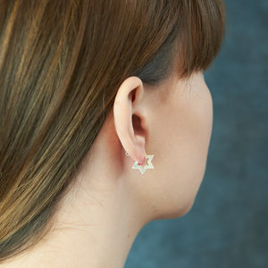 Sterling Silver Contemporary Star Stud Earrings