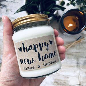 Personalised 'Happy New Home' Soy Scented Candle