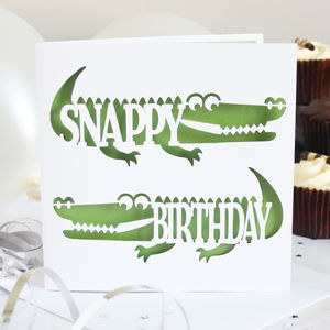 'Snappy Birthday' Crocodile Card - birthday cards
