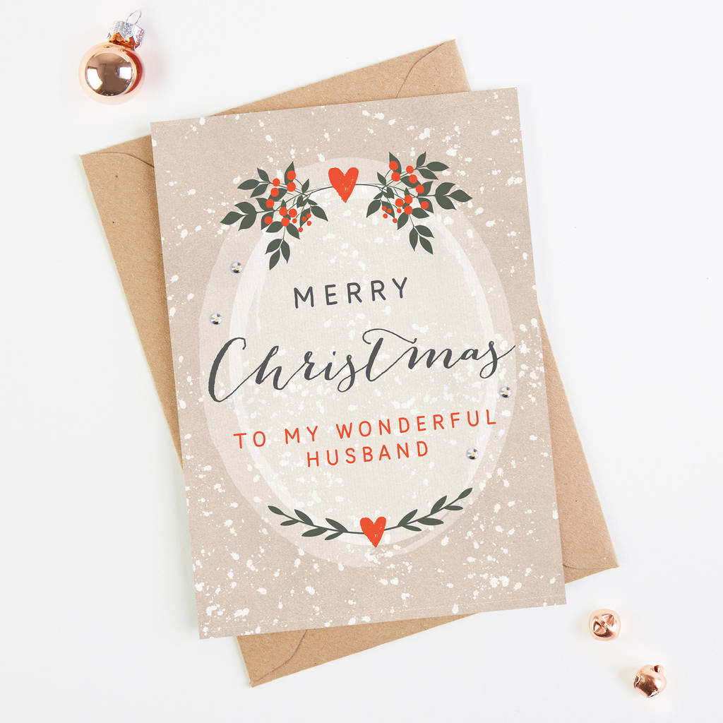 Husband Christmas Cards.Husband Christmas Card Botanical