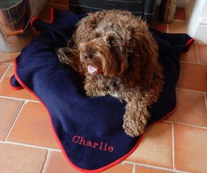 Personalised Embroidered Pet Blanket - beds & sleeping