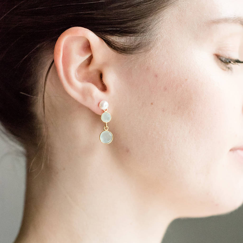 Triple Drop Aqua Chalcedony And Pearl Earrings