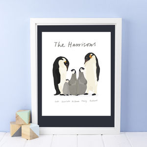 Personalised Penguin Family Print - inspired by family