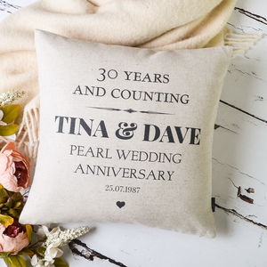 Pearl Wedding Anniversary Cushion Cover - 30th anniversary: pearl