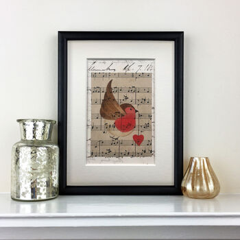 Robin With Music And Vintage Letter Original Painting
