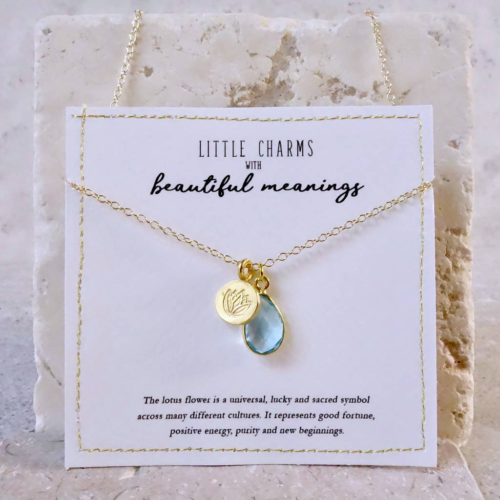 Personalised Gold Lotus Flower Birthstone Necklace