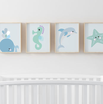 Set Of Four Sea Children's Nursery Prints