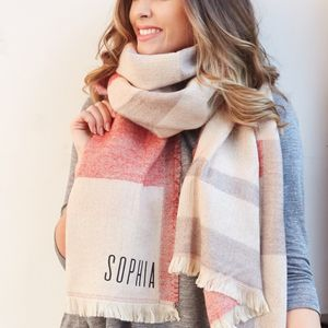 Personalised Red And Stone Tartan Wrap Scarf - keeping cosy