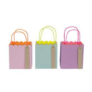 Set Of Three Pastel And Neon Small Gift Bags