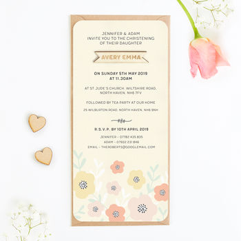 Christening Invite Lemon Floral