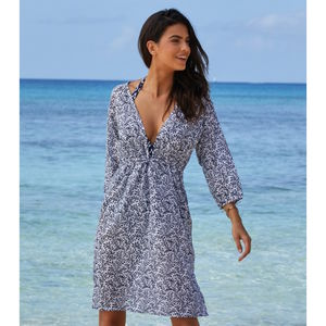 Sardinia Cotton Beach Kaftan Navy/White