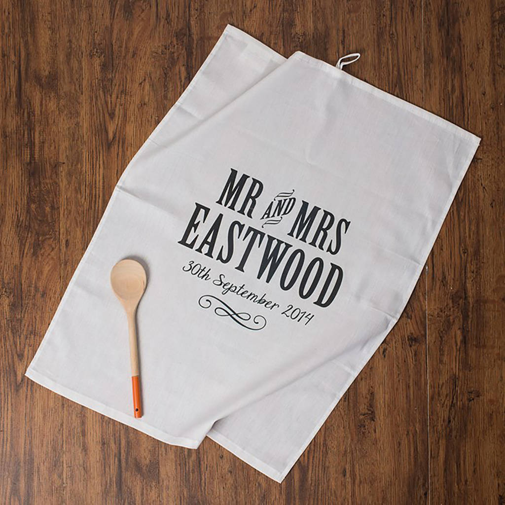 Wedding Gift For Those Who Have Everything: Personalised Mr And Mrs Anniversary Tea Towel Cotton By
