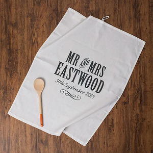 Personalised Mr And Mrs Anniversary Tea Towel Cotton - kitchen linen