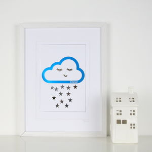 Personalised Name Cloud And Stars Foil Print - nature & landscape