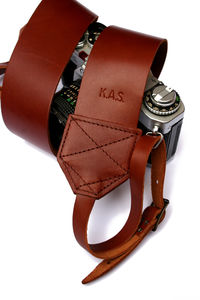 Personalised Retro Leather Camera Strap - frequent traveller