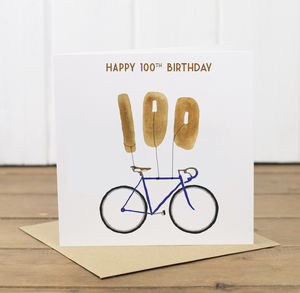 100th Birthday Bike With Balloons Card - birthday cards